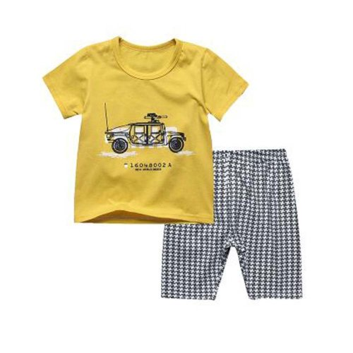Boys Truck Pajamas Kids Clothes Short Sets Cotton Children Cartoon Sleepwear