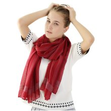 Women Warm Stripes Cotton Shawl Travel Leisure Big Size Square Scarf