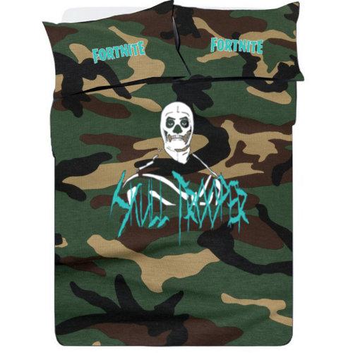 Fortnight GAMING SKULLTROOPER Camouflage Bedding Set Duvet cover
