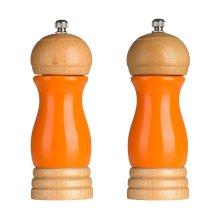 Rubberwood Salt and Pepper Mill Set - Orange