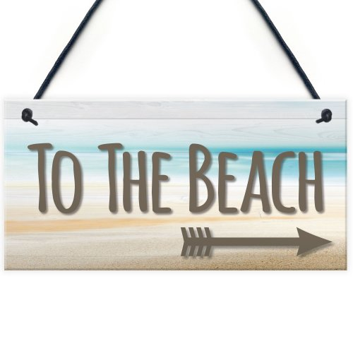 RED OCEAN To The Beach Arrow Nautical Seaside Marine Theme Hanging Plaque Sand Gift Sign