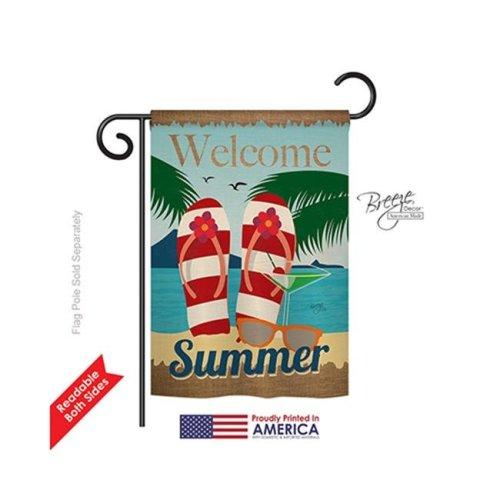 Breeze Decor 56075 Summer Welcome Summer 2-Sided Impression Garden Flag - 13 x 18.5 in.