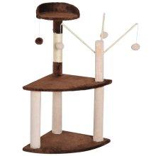 PawHut Cat Tree Scratching Post 2 Perch Activity Center Scratcher Kitty Furniture Toy w/ Pom-Pom Ball Brown
