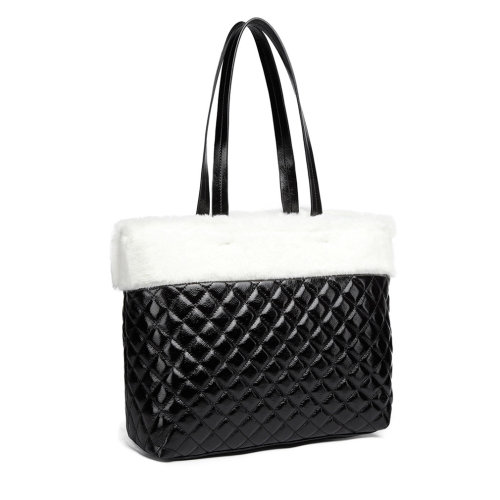 4b02642e0b11a8 Miss Lulu Women Handbag Shoulder Bag Leather Fluff Around Quilted Tote White  Black on OnBuy