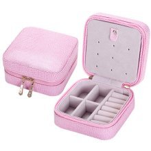 Small Jewelry Box Rings Earrings Necklace Organizer Display Storage Case for Travel, B