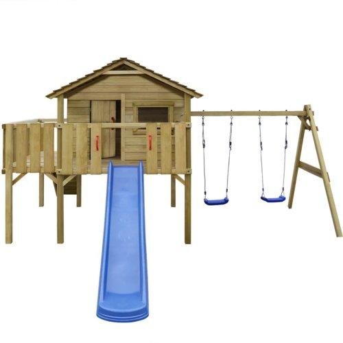 vidaXL Playhouse Set with Ladder, Slide and Swings 480x440x294 cm Wood