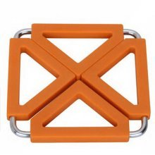 Square Stainless Steel Silicon Potholders Pot Holder,Heat-proof Mat(orange)