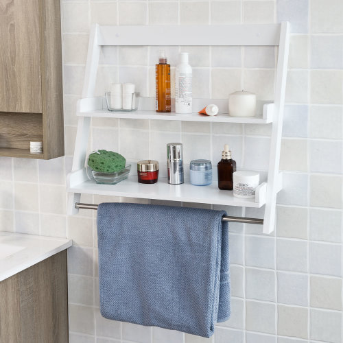 SoBuy® FRG117-W, Bathroom Wall Mounted Shelf with 2 Shelves & 1 Hanging Rail