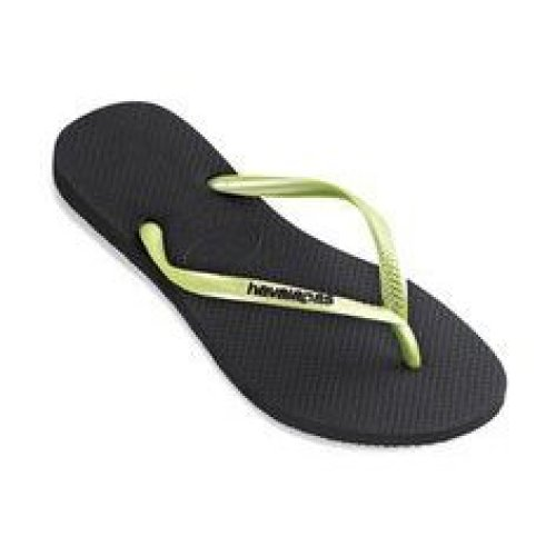 Havaianas Slim Pop Up Black and Green Flip Flops UK 5