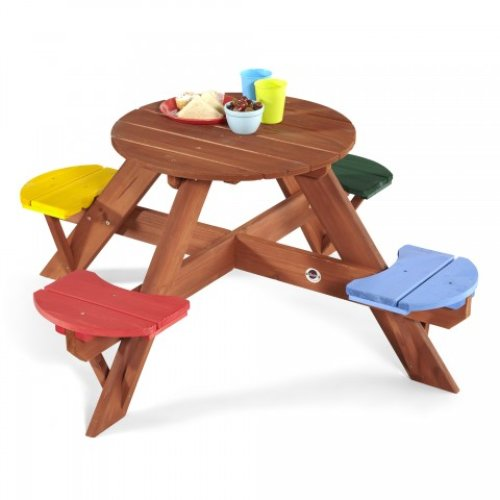Plum Circular Children's Picnic Table with Coloured Seats Children's Table