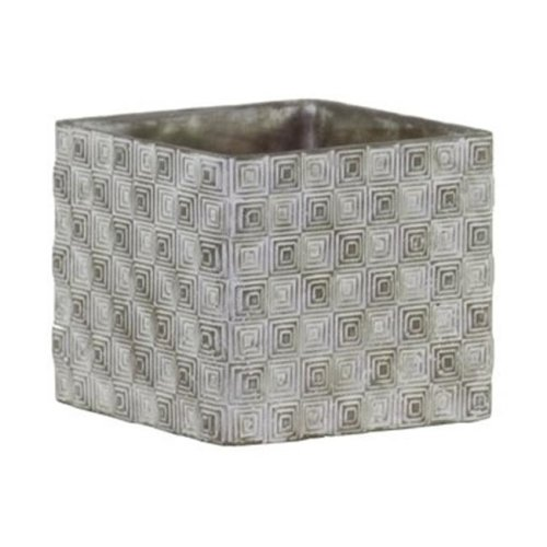 Urban Trends Collection 51500 Cement Short Square Pot with Embossed Rectangle Design Body, Gray - Large