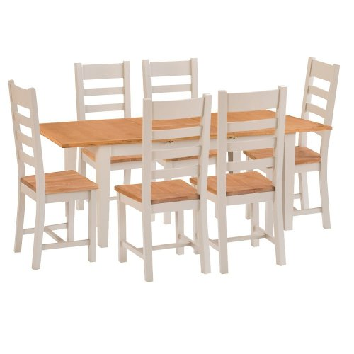 St. Ives Truffle Painted Oak 1.2m Ext. Table & 6 Wooden Seat Chairs