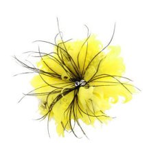 Ladies Pin Brooches Feather Flower Brooches Hair Decor, Yellow