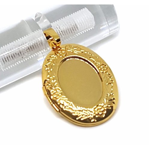 New 9CT Gold Filled Medium Oval Floral Locket Pendant and Chain B18