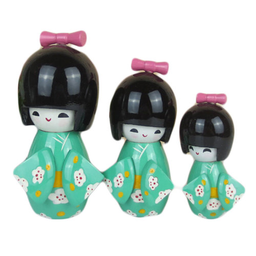 3 Pcs Lovely Japanese Kimono Girl Wooden Dolls With Plum Flower,Light Green