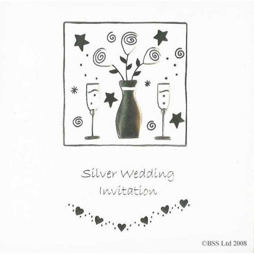 Silver 25th Anniversary Invitation Card by Jean Barrington