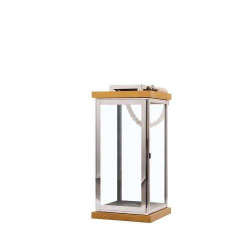 Decorative Lantern Light Wood with Silver BORNEO