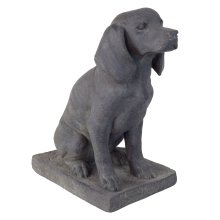 Dark Grey Stone Look Fibreclay 46cm Sitting Pointer Dog Garden Statue Ornament