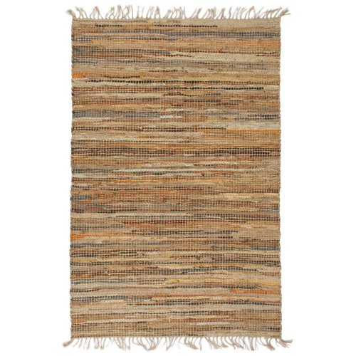 vidaXL Hand-woven Chindi Rug Leather Jute 120x170cm Tan Home Room Carpet Mat