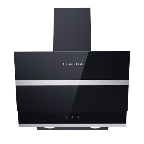 CIARRA Angled Cooker Hood 60cm Glass Chimney Hoods with Kitchen Extractor Fan LED Bulbs Grease Filters Black (600mm)