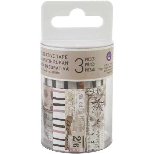Prima Marketing Pretty Pale Decorative Tape 3/Pkg-10Mm To 20Mm, 10 Yards Each