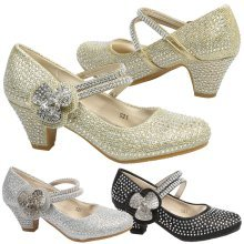 Leia Girls Kids Low Heel Diamante Mary Jane Shoes