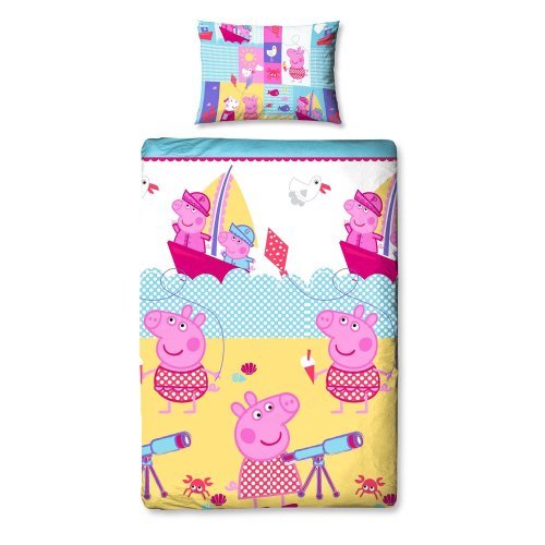 Peppa Pig Nautical Single Duvet Bed Set Reversible 135x200 Pillowcase 48x74