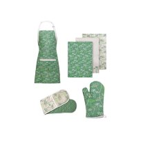 Cow Parsley Oven Gloves, Apron and Tea Towels - Set Of 6