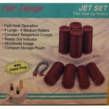 Jet Set Hair Design Fast Heat Up 8 Rollers With Compact Storage Pouch