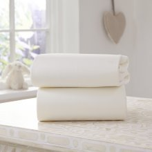Clair de Lune Moses Basket 100% Cotton Jersey Fitted Sheets (Pack of 2, White)