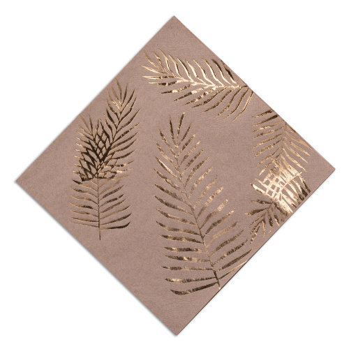 Kraft Brown Napkins with Gold Foiled Leaf x 16 Tropical Chic