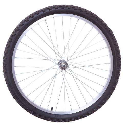 "24"" PLAIN SILVER FRONT MTB Bike WHEEL (SOLID AXLE) Black Tyre + Tube New"