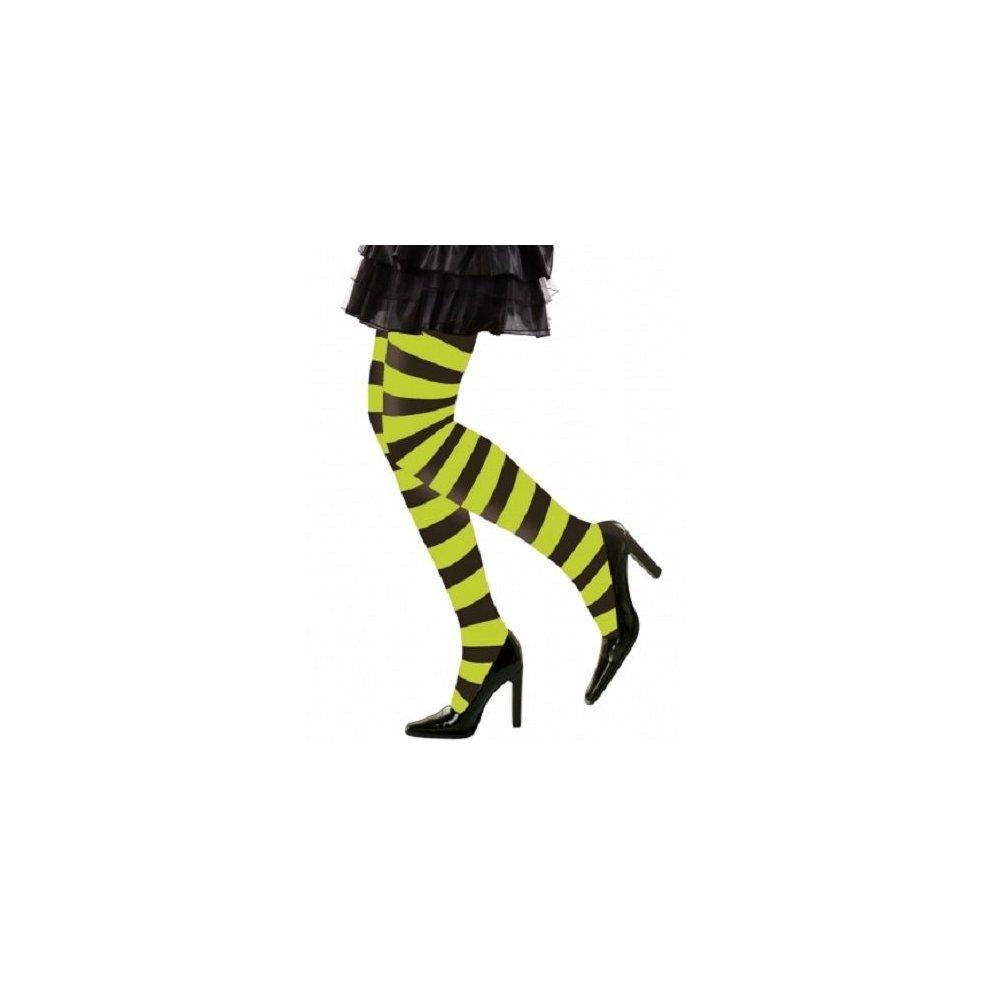 8df5c075a24ac XL Green & Black Striped Ladies Pantyhose - Fancy Dress Neon Tights Hosiery  - striped fancy dress black neon green tights hosiery xl plus size 1620 on  OnBuy