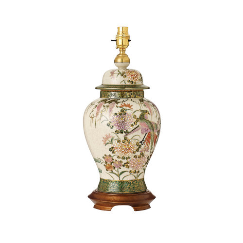 Birds And Wisteria Hand Painted Table Lamp With Gold And Mahogany - Base Only - Interiors 1900 RJ446