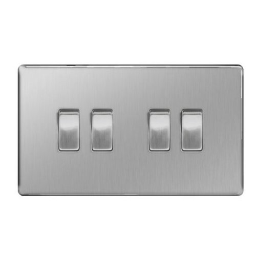 British General Decorative Screwless FBS44 Stainless Steel Light Switch 4 Gang, 2 Way