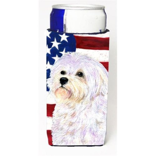 Carolines Treasures SS4043MUK Usa American Flag With Maltese Michelob Ultra bottle sleeves For Slim Cans - 12 oz.