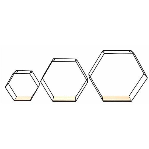 Set Of 3 Hexagon Wall Shelves Display Unit Racks Storage Shelf
