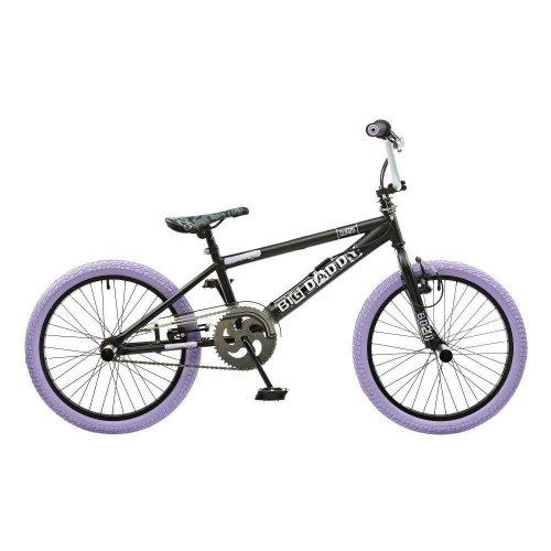 "Rooster Big Daddy Kids 20"" Wheel Freestyle BMX Bike Gyro Black Lilac RS125"