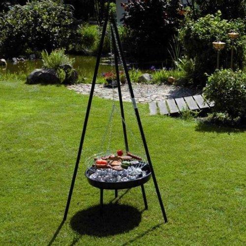 Garden Kraft 19610 20 Inch Tripod BBQ Grill And Firepit - Black