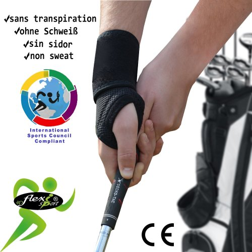 Wrist Brace Wrap, NON-SPLINTED (BLACK) Golf, Tennis, Ski, Cyclists   NON-SWEAT, NON-ITCH, NO-RASH  Strengthens, protects & supports wrist & base  of