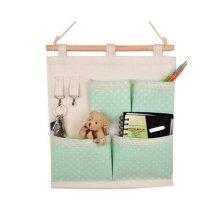 4-Pockets Zakka Wall Door Closet Hanging Storage Bag Case Home Organizer, Green