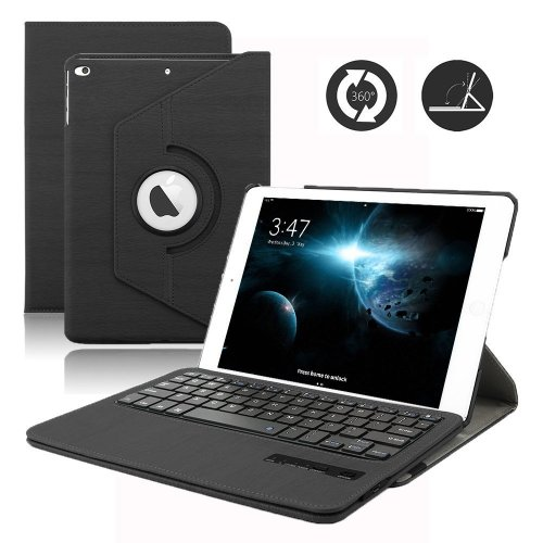 New iPad 9.7 inch Keyboard Case, Dingrich 360 Degree Rotating PU Leather Case with Magnetic Detachable Bluetooth Keyboard for iPad 9.7 inch 2017...