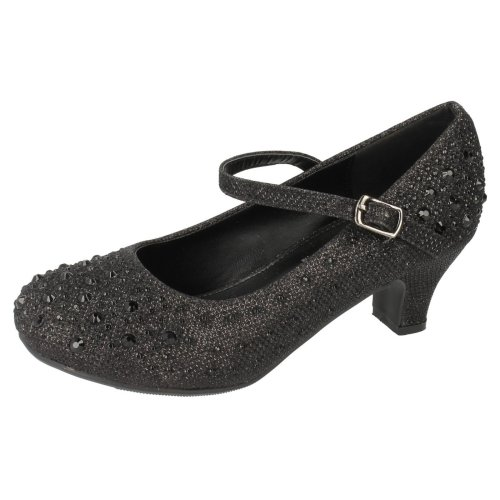 Spot On Childrens Girls Diamante Glitter Bar Strap High Heel Shoes