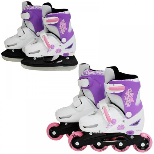 SK8 Zone Girls Pink 2in1 Adjustable Roller Blades Inline Skates Ice Skating Set[Small 9-12 (27-30 EU)]
