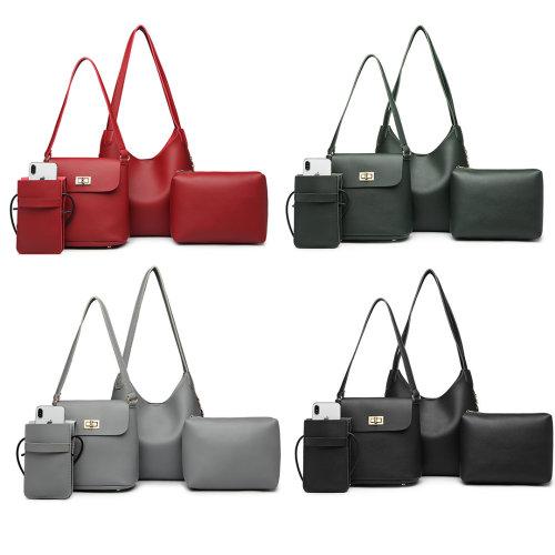 Miss Lulu 4 Pieces Tote Handbag Shoulder Bag