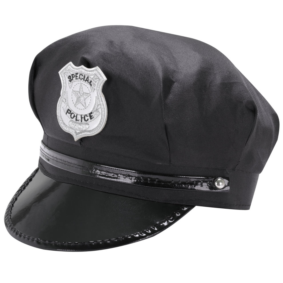 891a6ad750b TRIXES Black Novelty Peaked Security Hat Police Cop Fancy Dress Theme Cap  on OnBuy