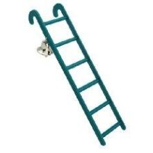 Six Step Ladder & Bell Bird Toy - & 6 James & Steel Cage Accessory Stimulation - Ladder & Bell 6 Step James & Steel Bird Toy Cage Accessory
