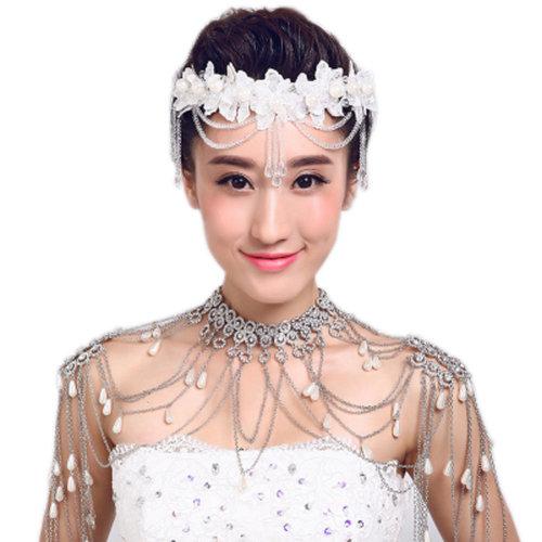 Flower Rhinestones Beads Bridal Wedding Lace Headband Hair Accessories, E