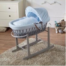 Blue Waffle Grey Wicker Moses Basket And Grey Rocking Stand