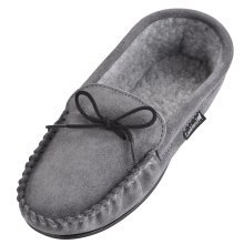 Mens Suede Moccasin Slippers with Fleece Lining